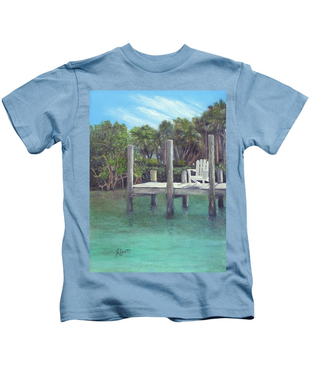 Dock Kids T-Shirt featuring the painting Dockside by Judy Scott