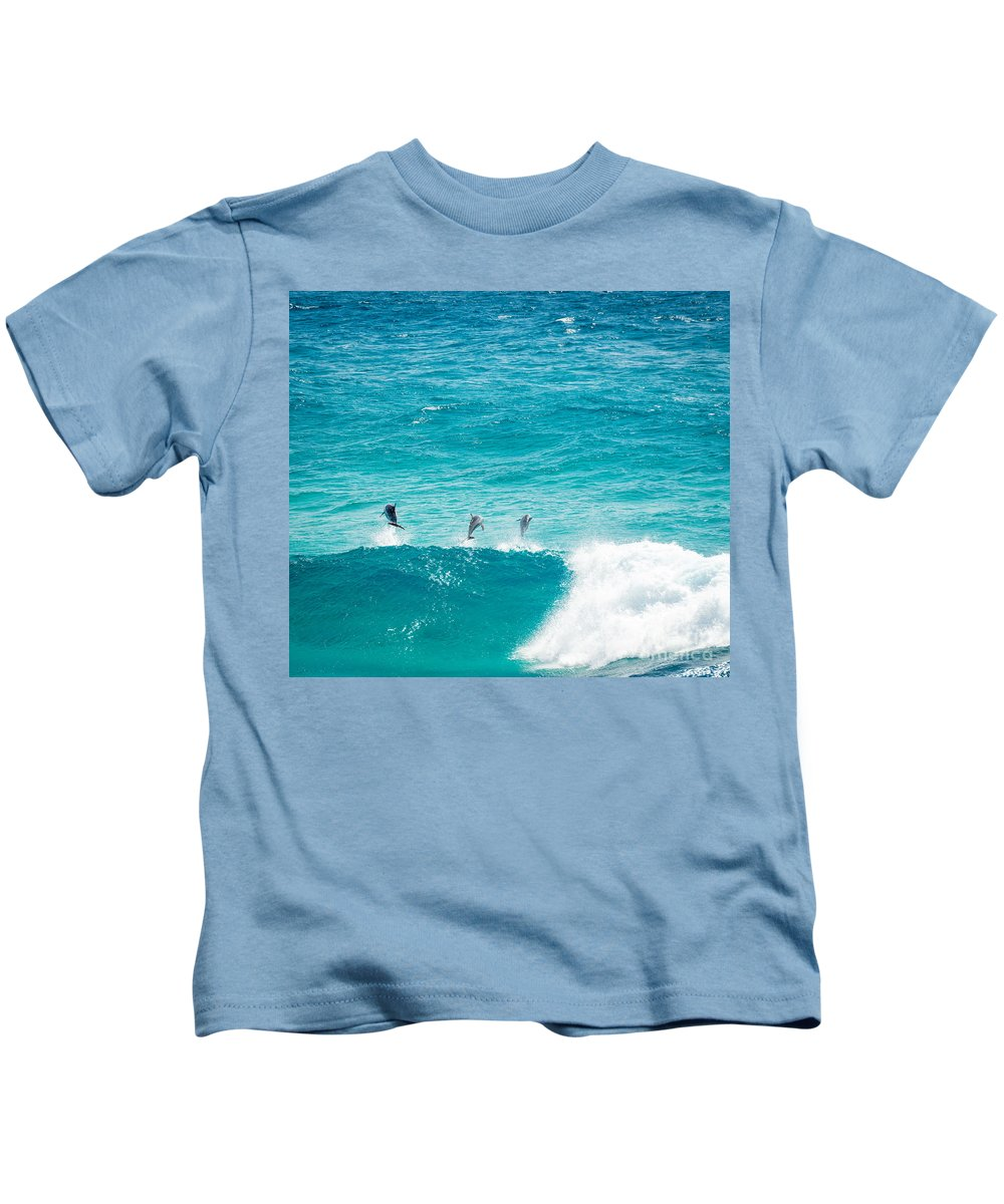 Dolphins Kids T-Shirt featuring the photograph Dolphins Jumping by Tim Hester