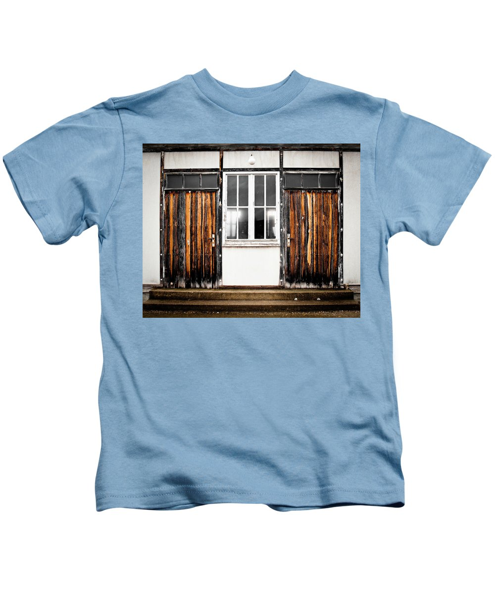 Architecture Kids T-Shirt featuring the photograph Doors Of Dachau by Steven Myers