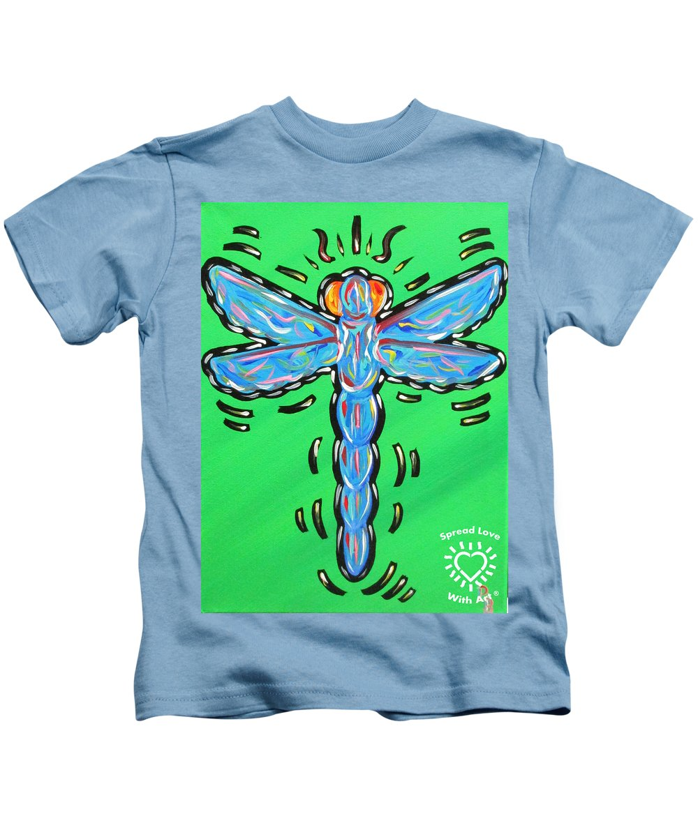 Abstract Kids T-Shirt featuring the painting Dragonfly by Parker Beaudoin