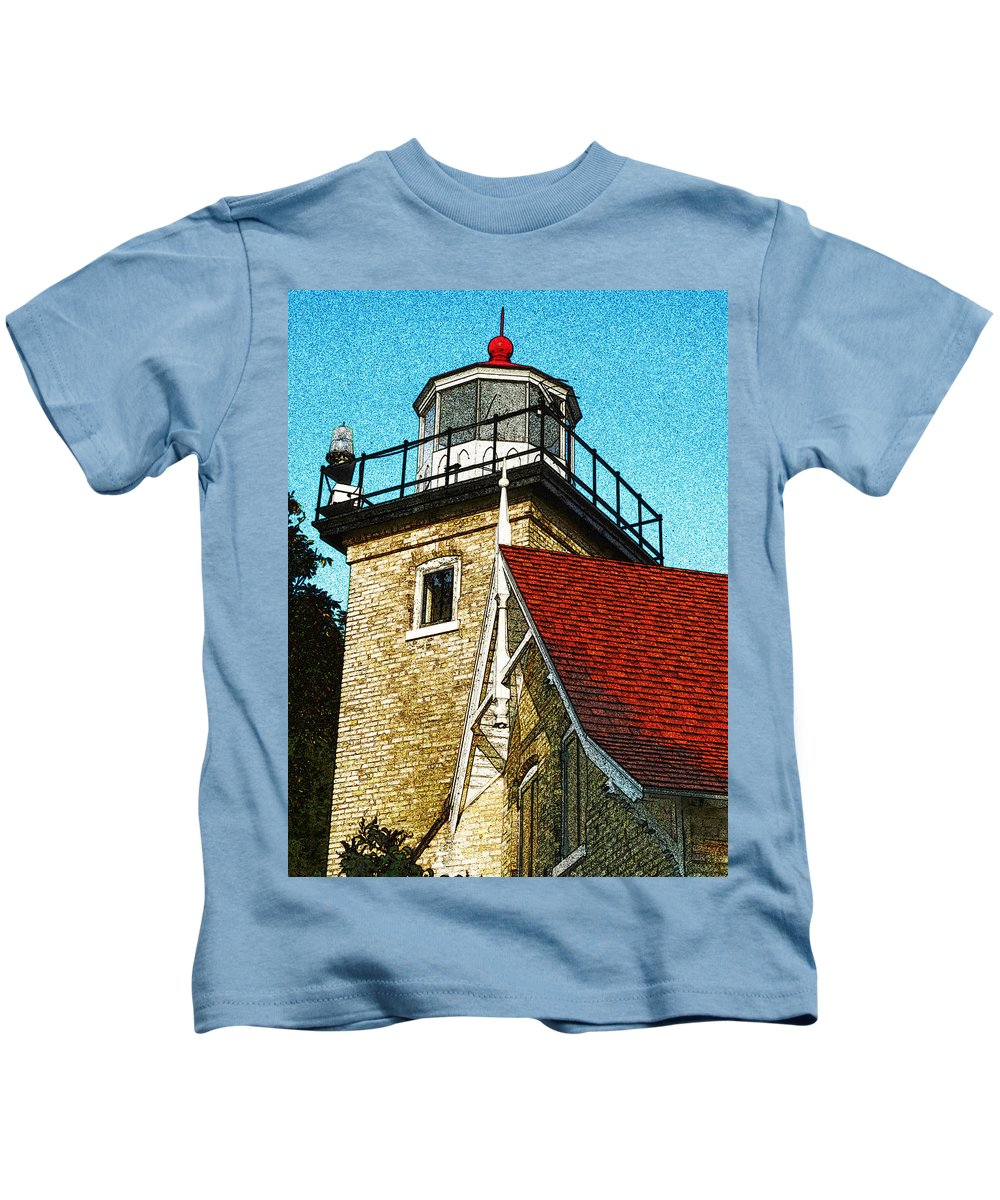 Eagle Bluff Lighthouse Kids T-Shirt featuring the photograph Eagle Bluff Lighthouse Re-imagined by David T Wilkinson