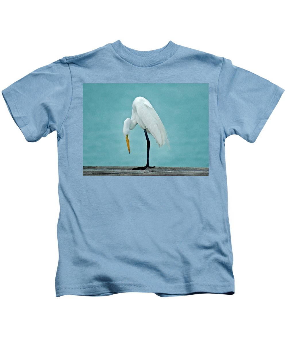 Pelican Kids T-Shirt featuring the painting Egret Foot Inspection by Michael Thomas