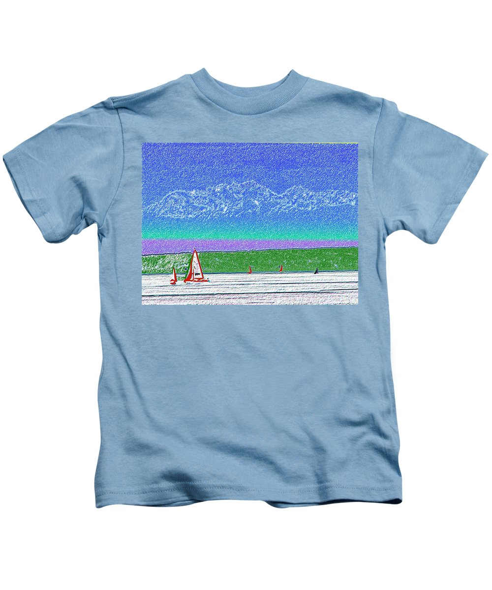 Seattle Kids T-Shirt featuring the digital art Elliott Bay Sail by Tim Allen