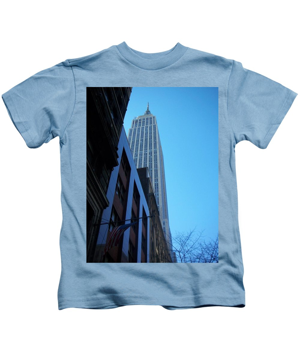 Emoire State Building Kids T-Shirt featuring the photograph Empire State 1 by Anita Burgermeister