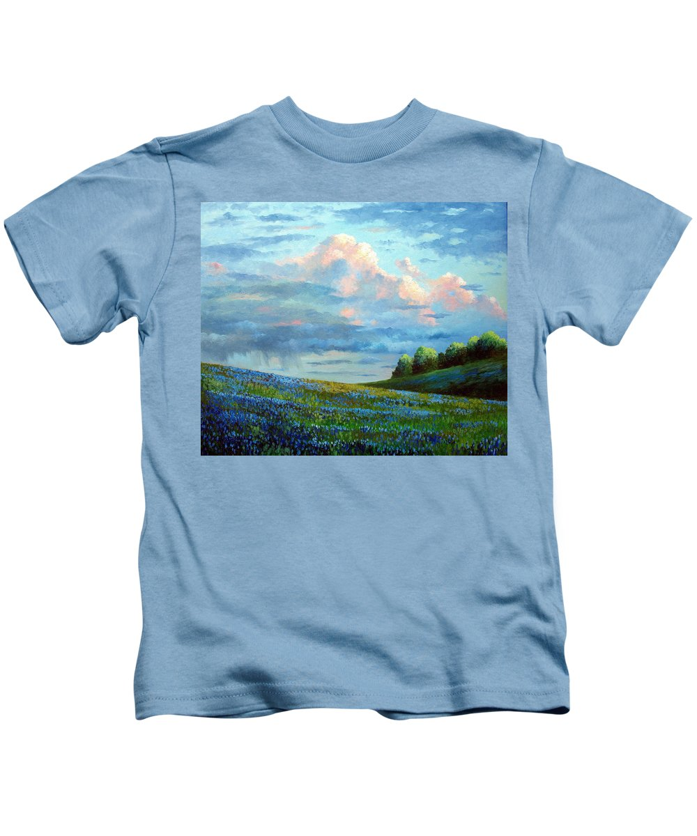 Landscape Kids T-Shirt featuring the painting Evening Rain by David G Paul