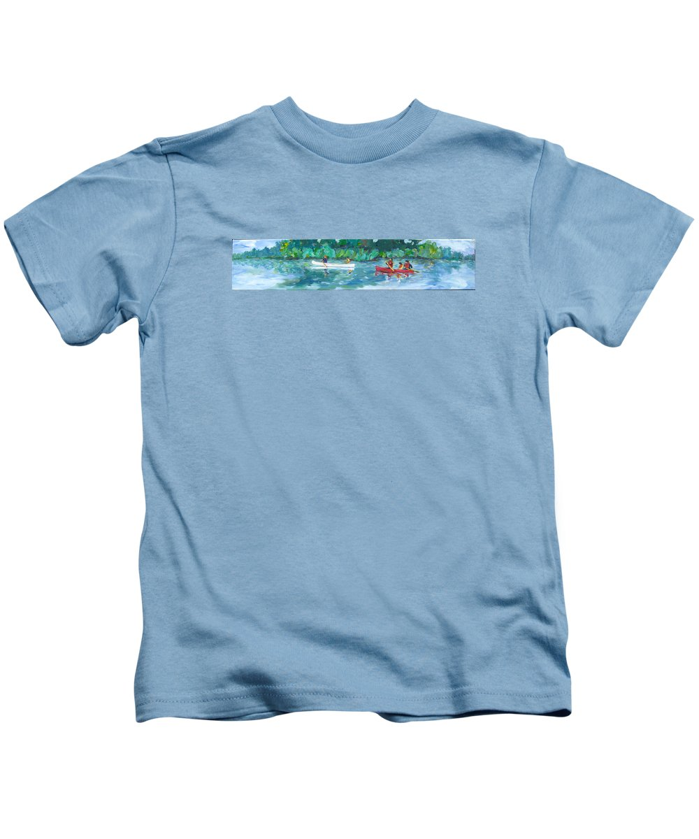 Canoing Kids T-Shirt featuring the painting Exploring Our River by Naomi Gerrard