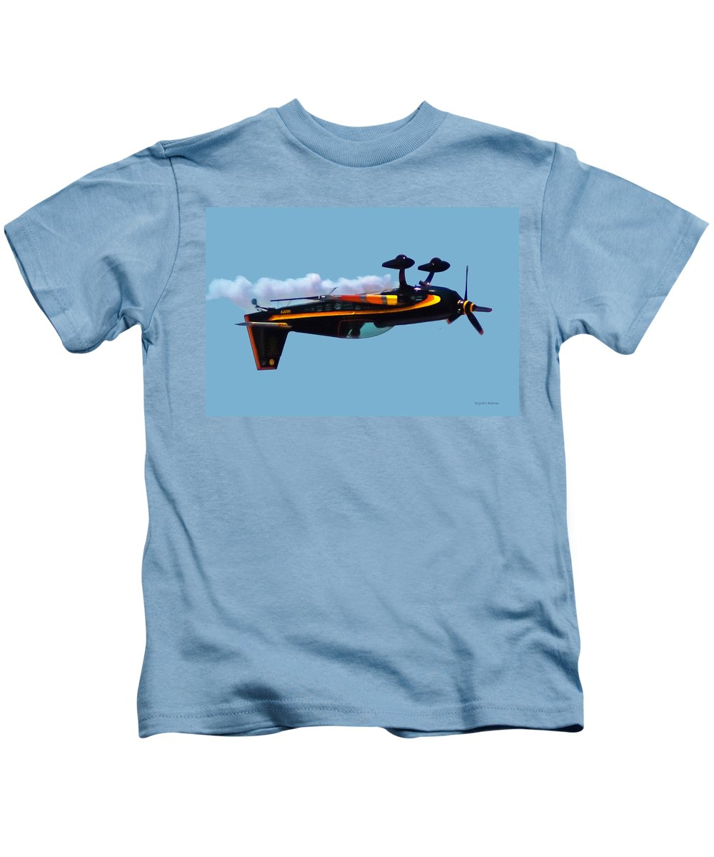 300s Kids T-Shirt featuring the digital art Extra 300s Stunt Plane by DigiArt Diaries by Vicky B Fuller