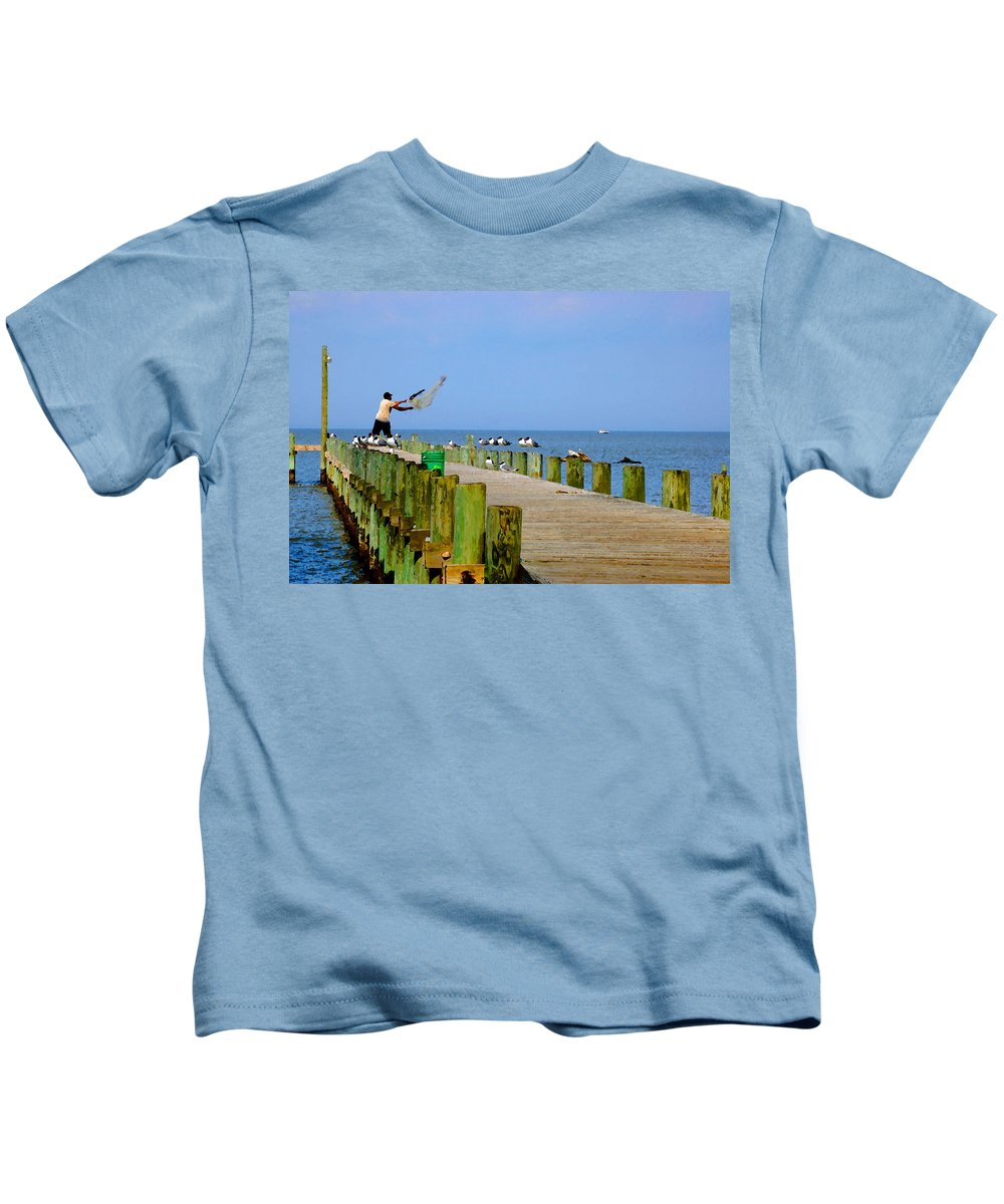 Fairhope Kids T-Shirt featuring the painting Fairhope Fisherman With Cast Net by Michael Thomas