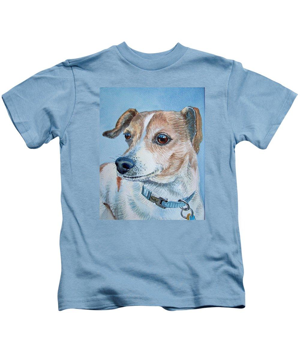 Dog Kids T-Shirt featuring the painting Beloved Dog Commission By Irina Sztukowski by Irina Sztukowski