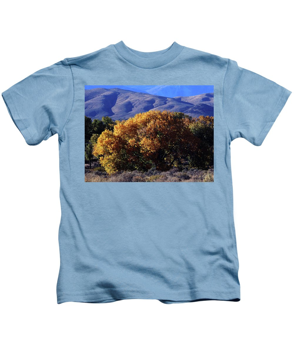 October Kids T-Shirt featuring the photograph Fall Foliage And Hills, Carson City by Day Williams