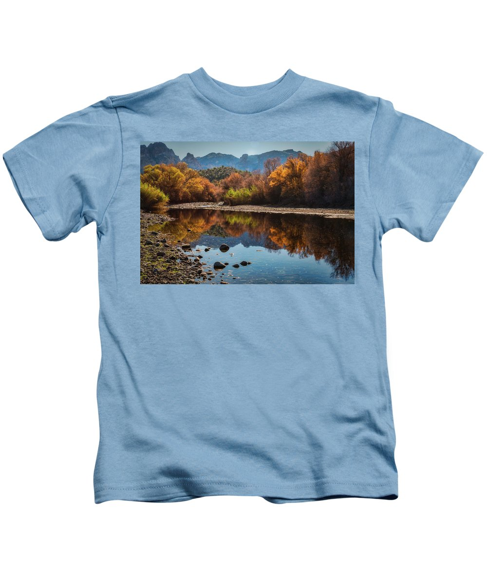 Arizona Kids T-Shirt featuring the photograph Fall Reflections by Saija Lehtonen