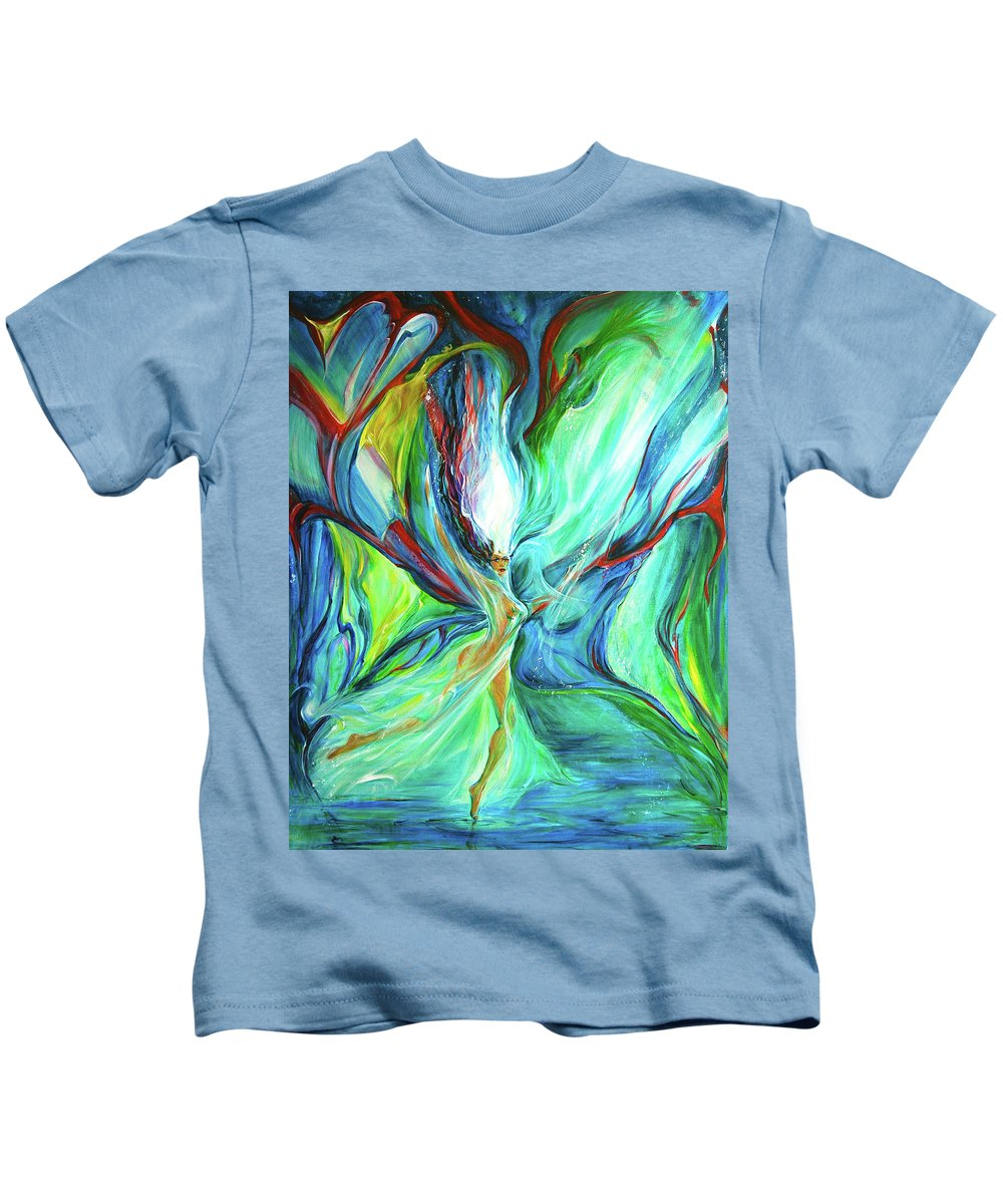 Butterfly Goddess Kids T-Shirt featuring the painting Famik by Jennifer Christenson