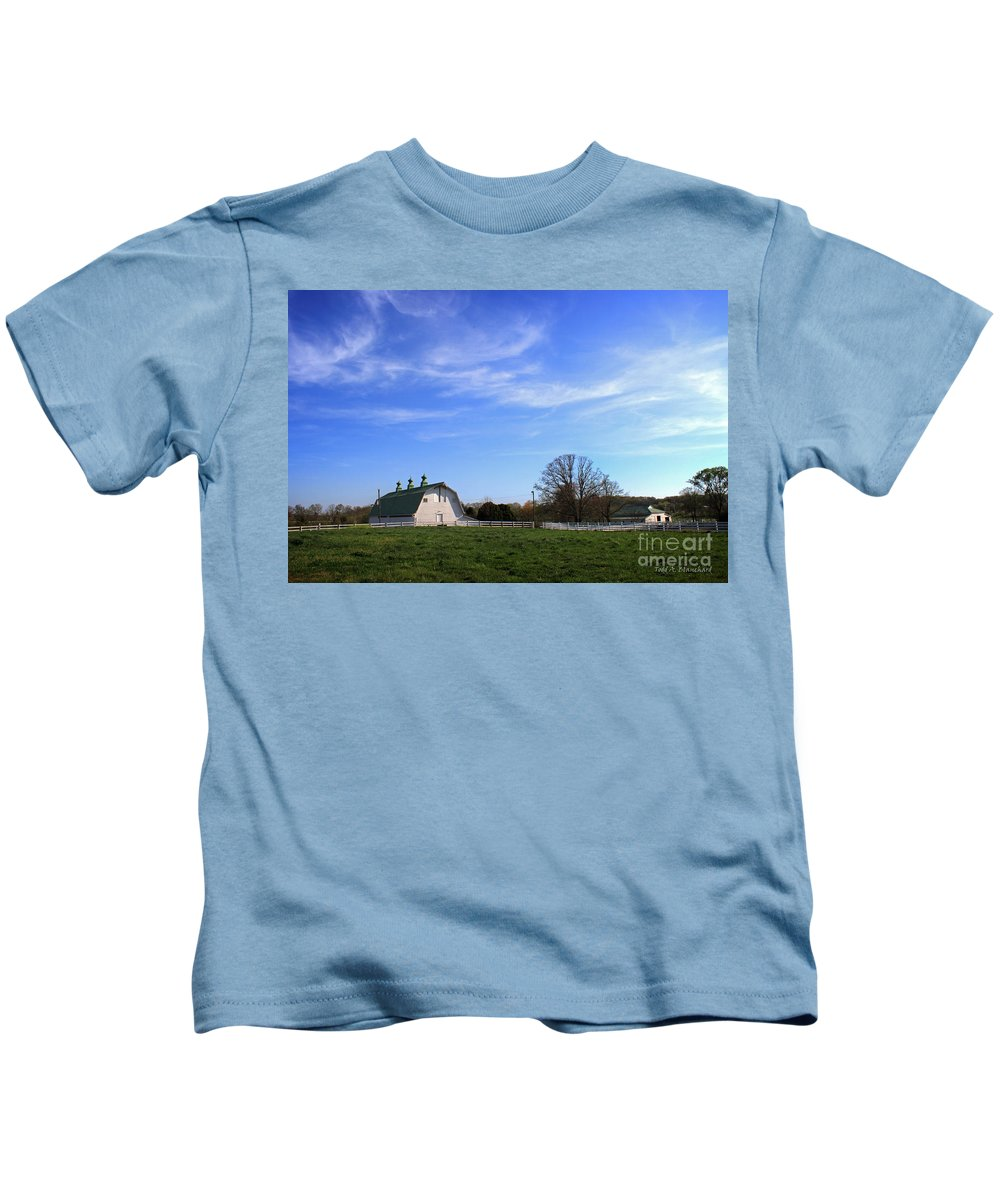 Landscape Kids T-Shirt featuring the photograph Farm At Sunset by Todd Blanchard