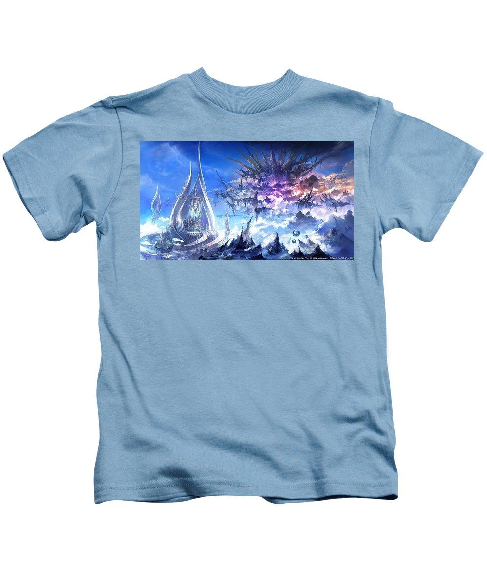 Final Fantasy Xiv A Realm Reborn Kids T-Shirt featuring the digital art Final Fantasy Xiv A Realm Reborn by Dorothy Binder
