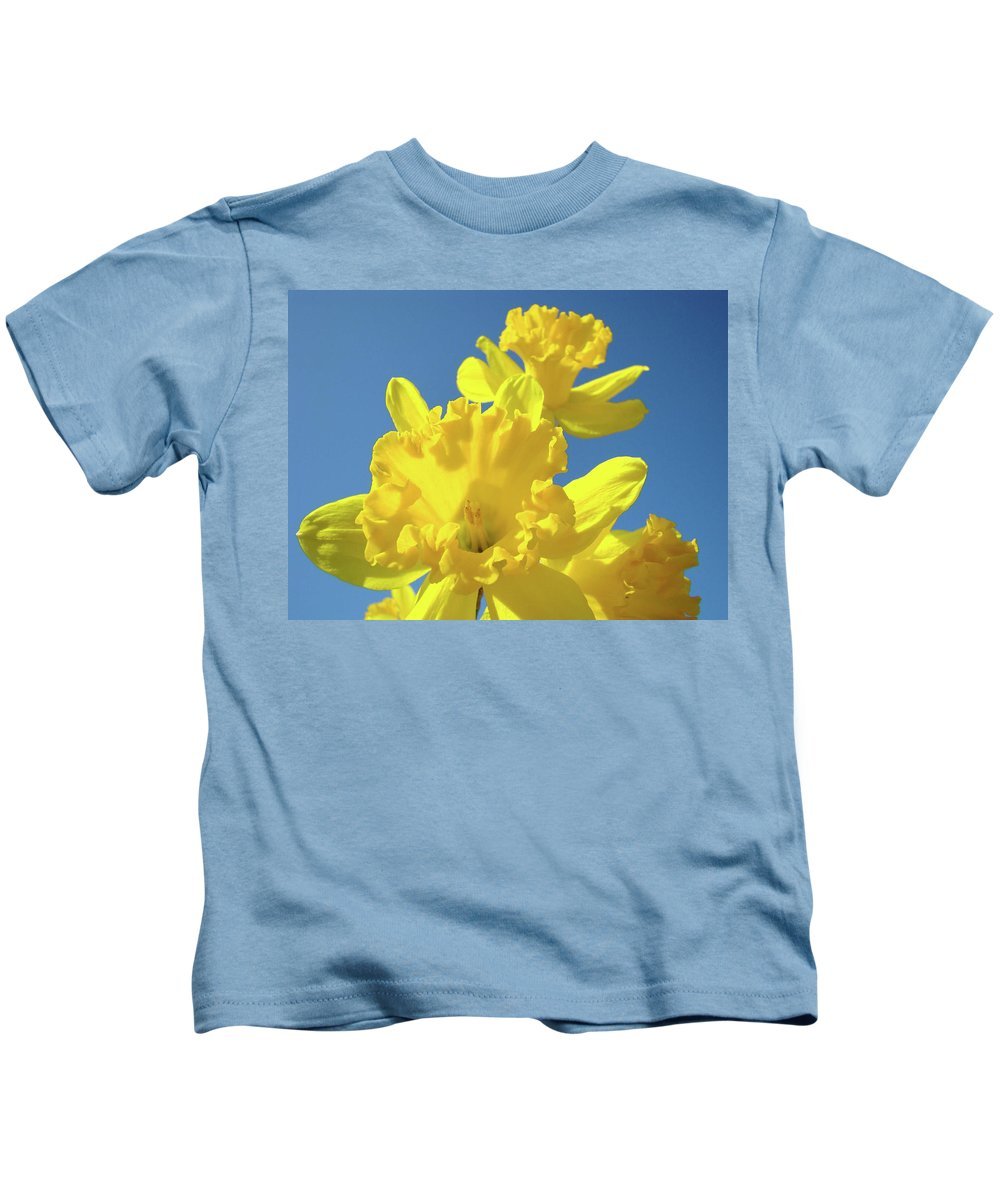 Sky Kids T-Shirt featuring the photograph Fine Art Daffodils Floral Spring Flowers Art Prints Canvas Baslee Troutman by Baslee Troutman