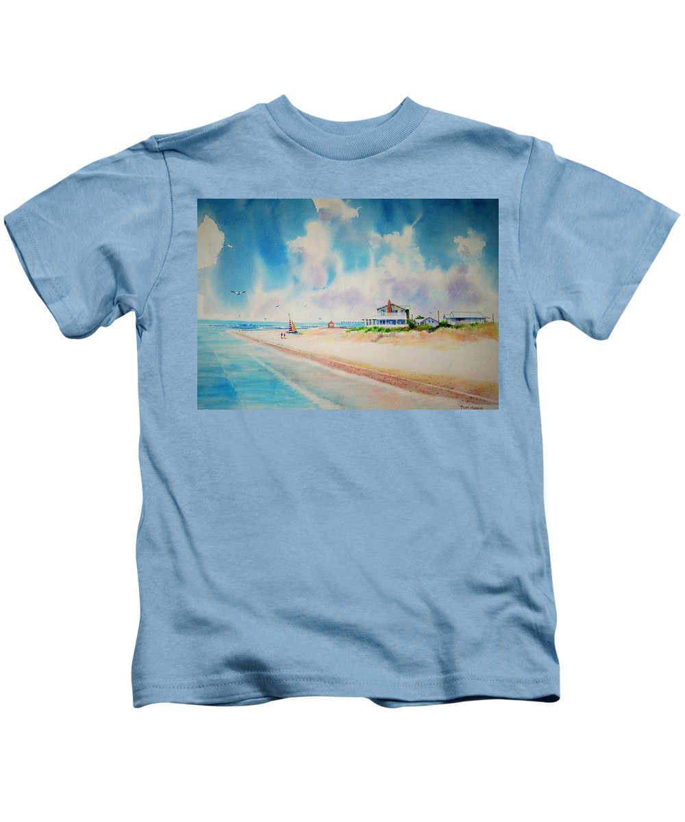 Beach Kids T-Shirt featuring the painting First Day Of Vacation Is Pricless by Tom Harris