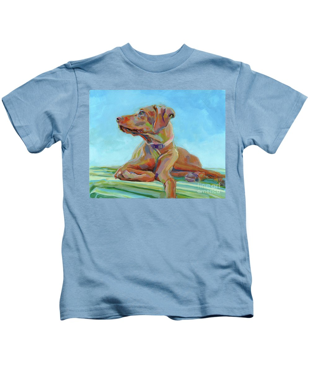 Vizsla Kids T-Shirt featuring the painting First Mate by Kimberly Santini