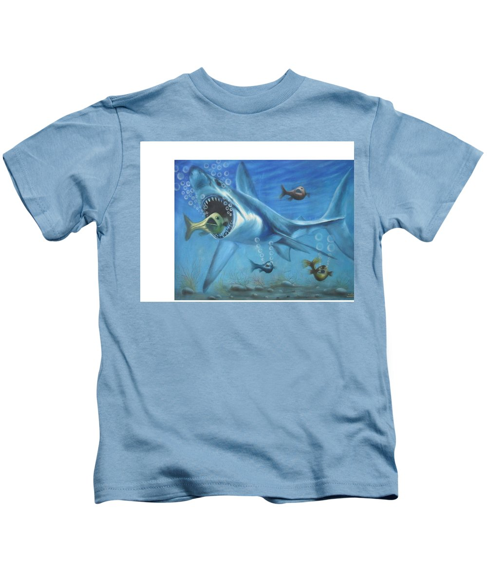 Fish Kids T-Shirt featuring the painting Fish In Action by Olaoluwa Smith