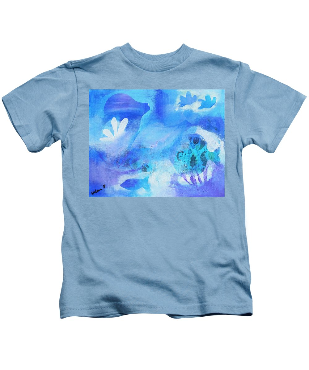 Fish Kids T-Shirt featuring the mixed media Fish In Blue by HelenaP Art