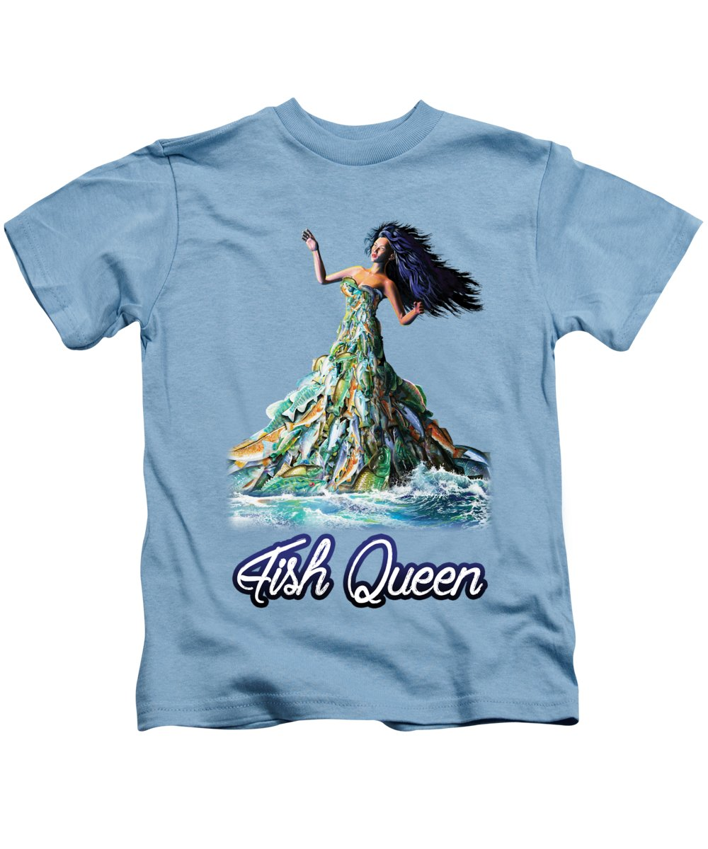 School Kids T-Shirt featuring the painting Fish Queen by Anthony Mwangi