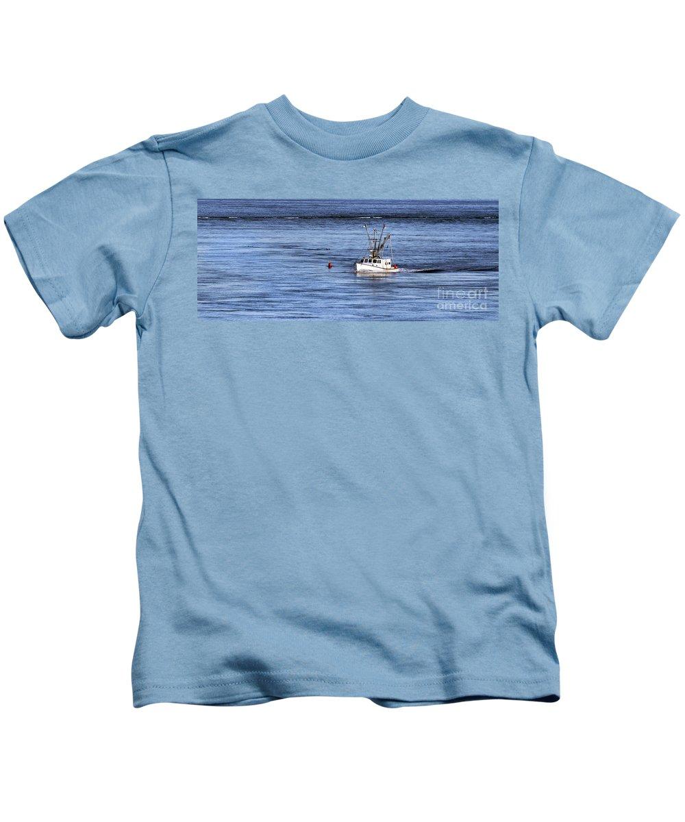 Atlantic Kids T-Shirt featuring the photograph Fishing Boat Return by John Greim