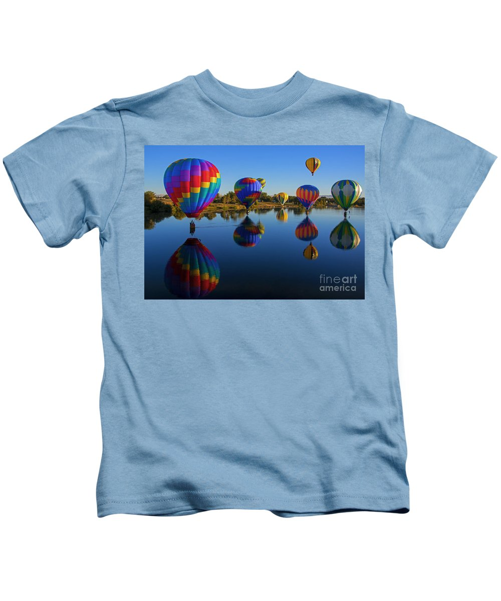 Balloons Kids T-Shirt featuring the photograph Five On The Water by Mike Dawson