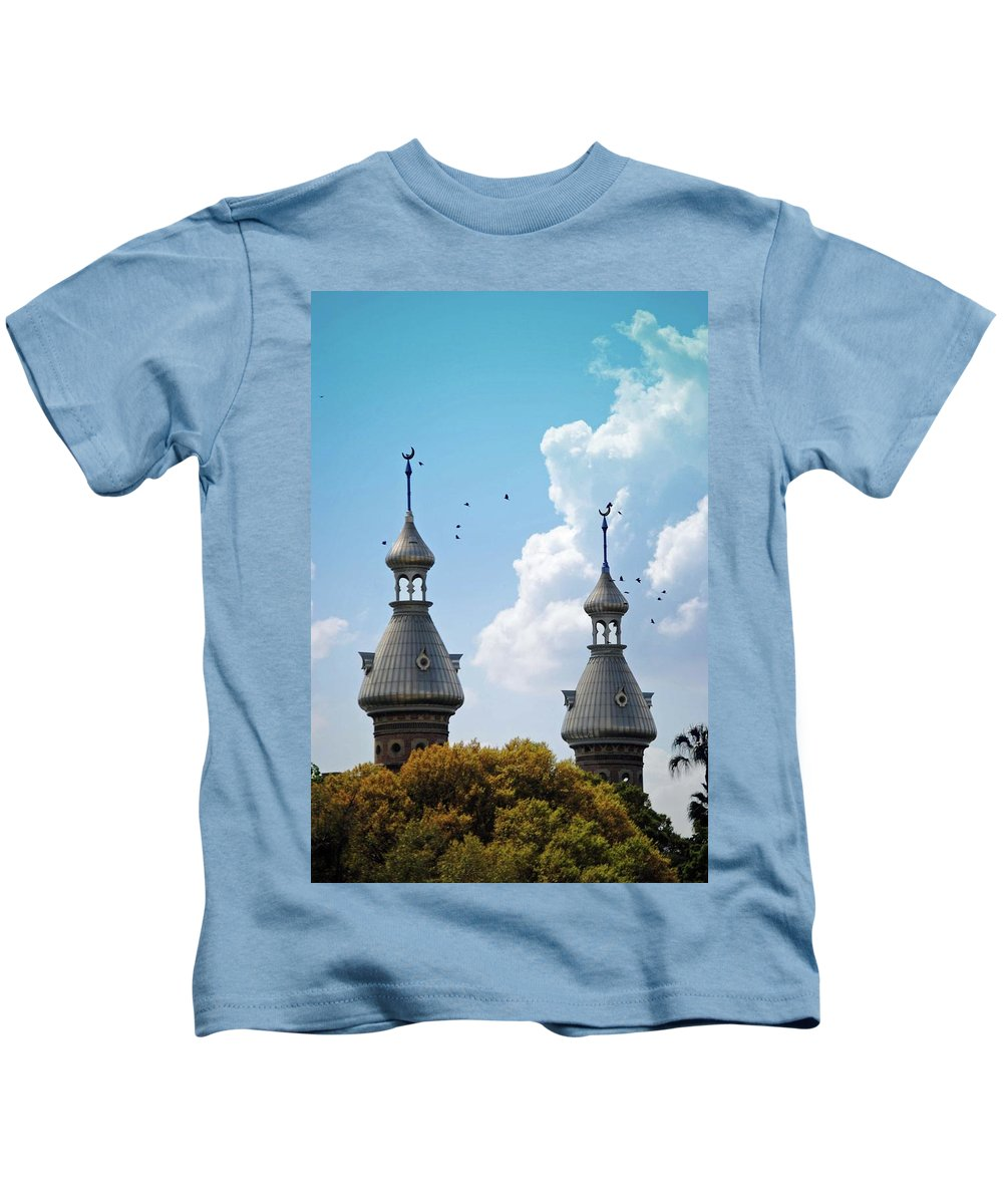 University Of Tampa Kids T-Shirt featuring the photograph Flight Over The Crescents by Jost Houk