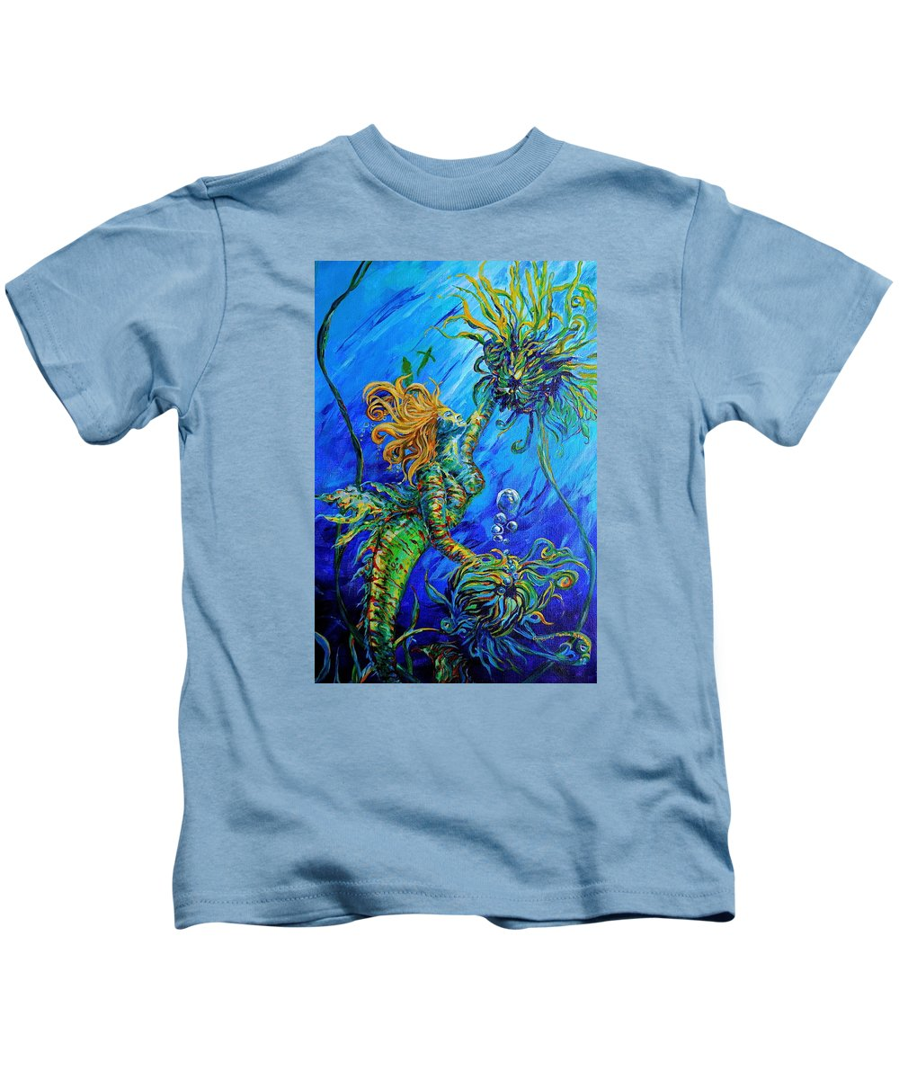 Blond Mermaid Kids T-Shirt featuring the painting Floating Blond Mermaid by Gregory Merlin Brown