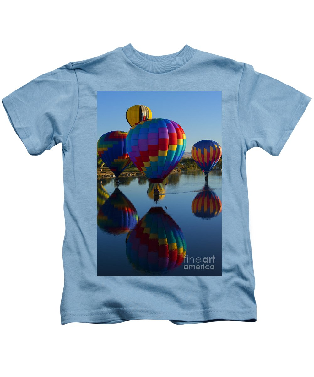 Balloons Kids T-Shirt featuring the photograph Floating Reflections by Mike Dawson