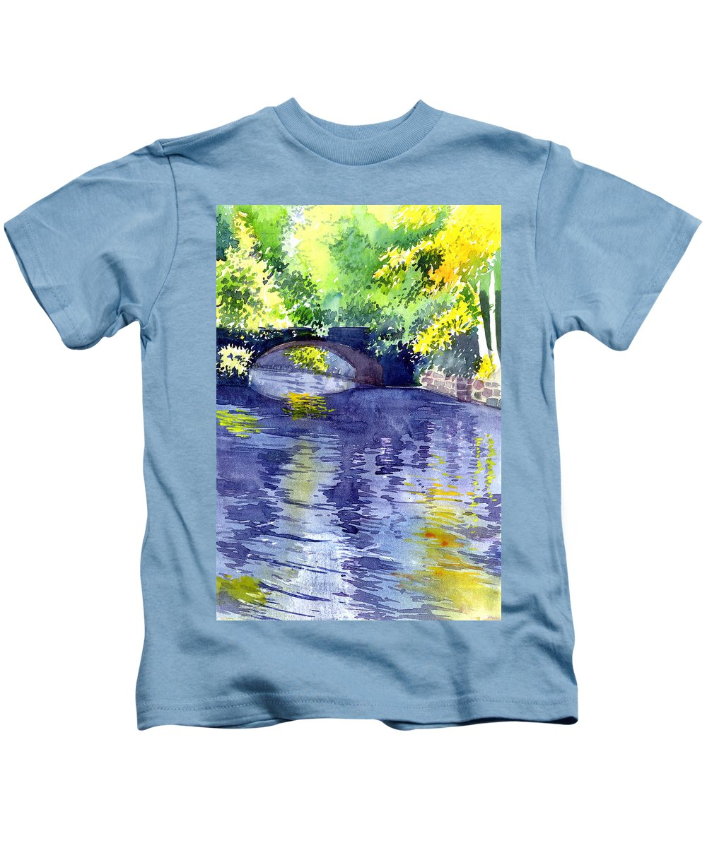 Nature Kids T-Shirt featuring the painting Floods by Anil Nene