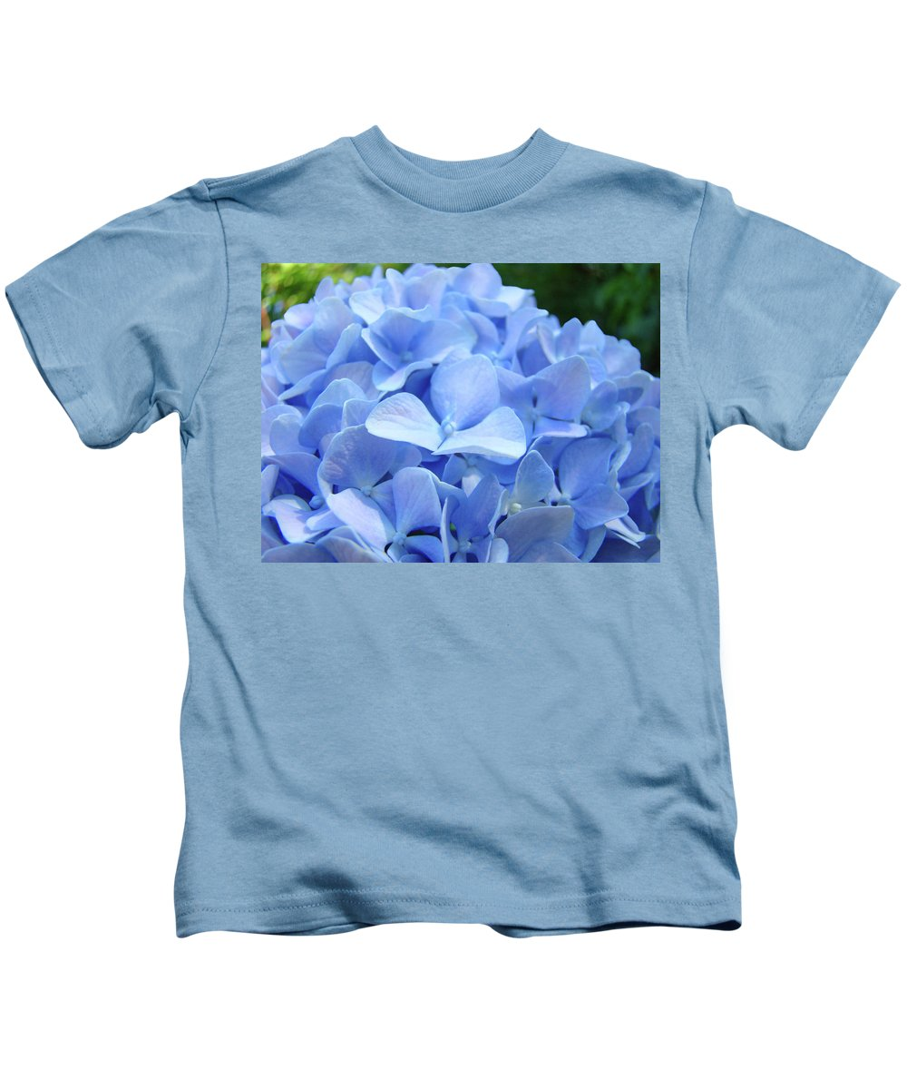 Hydrangea Kids T-Shirt featuring the photograph Floral Artwork Blue Hydrangea Flowers Baslee Troutman by Baslee Troutman