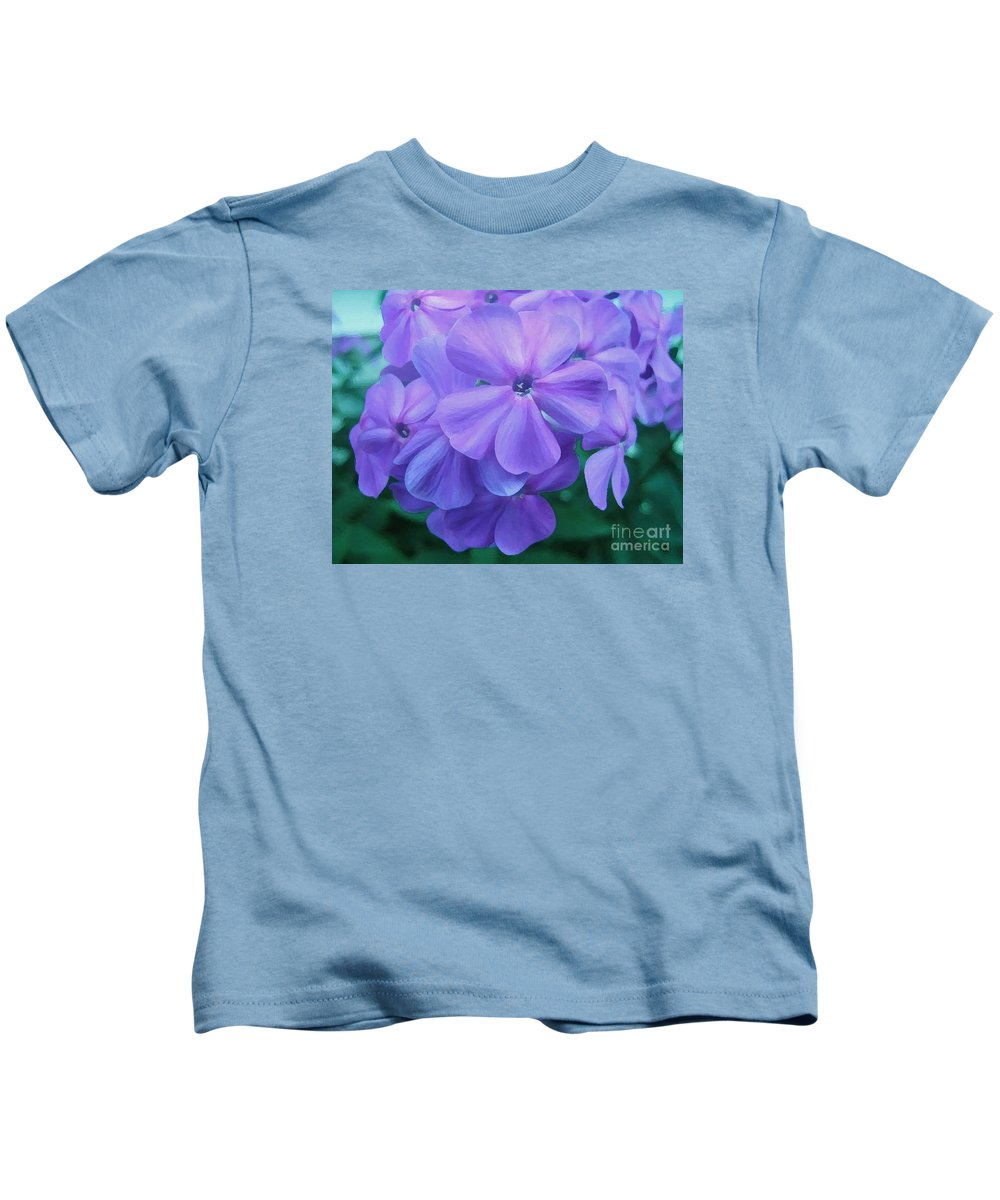 Purple Flowers Artwork Kids T-Shirt featuring the photograph Flowers In The Garden by Reb Frost