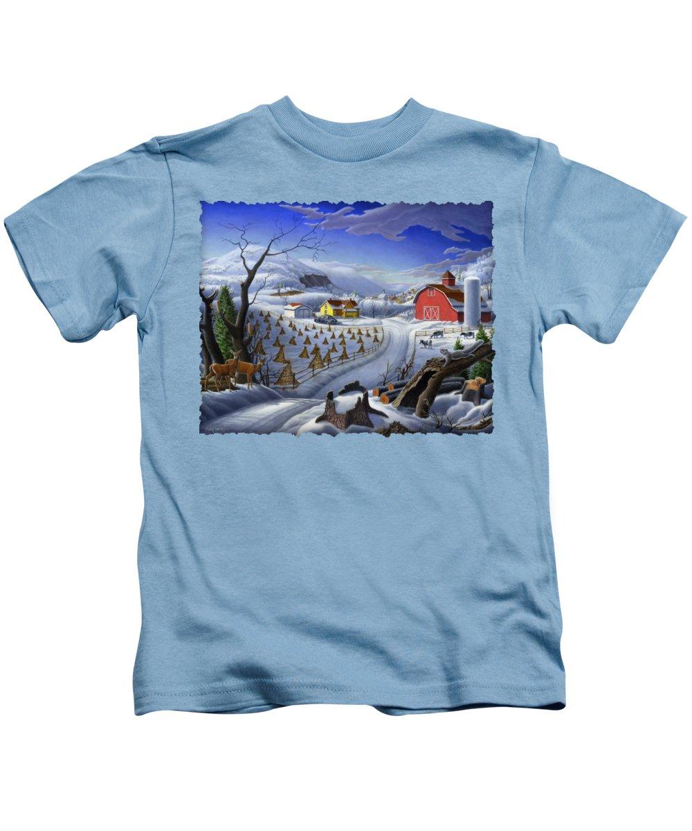 Folk Art Kids T-Shirt featuring the painting Folk Art Winter Landscape by Walt Curlee