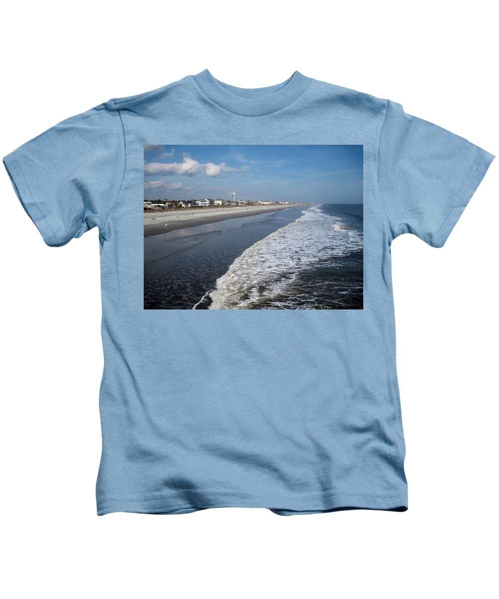 Photography Kids T-Shirt featuring the photograph Folly Beach Charleston Sc by Susanne Van Hulst