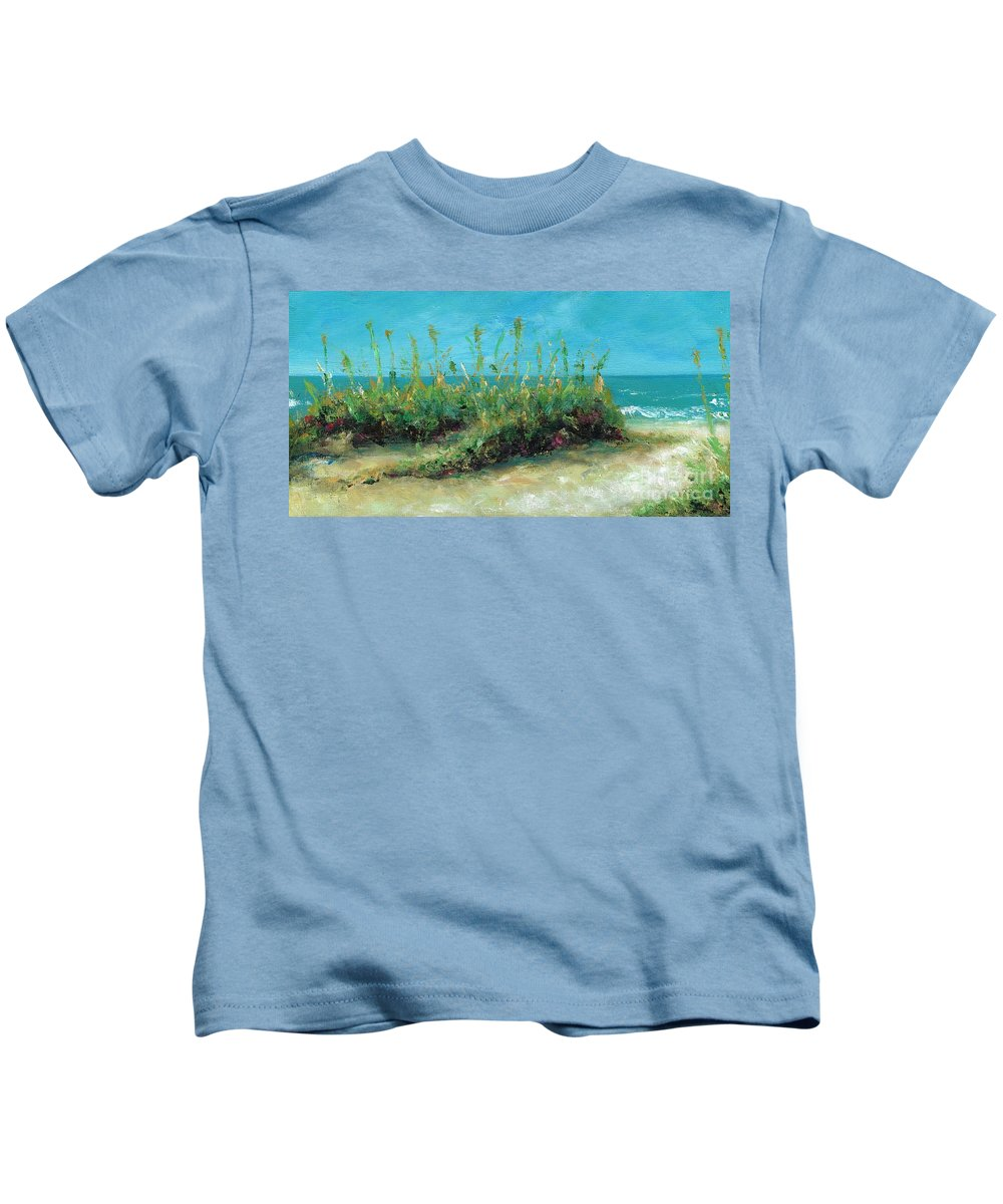 Beaches Kids T-Shirt featuring the painting Footprints In The Sand by Frances Marino