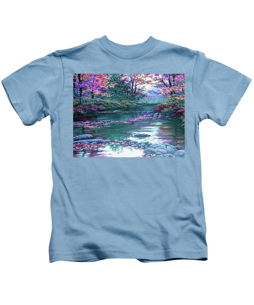 Rural Kids T-Shirt featuring the painting Forest River Scene. L B by Gert J Rheeders