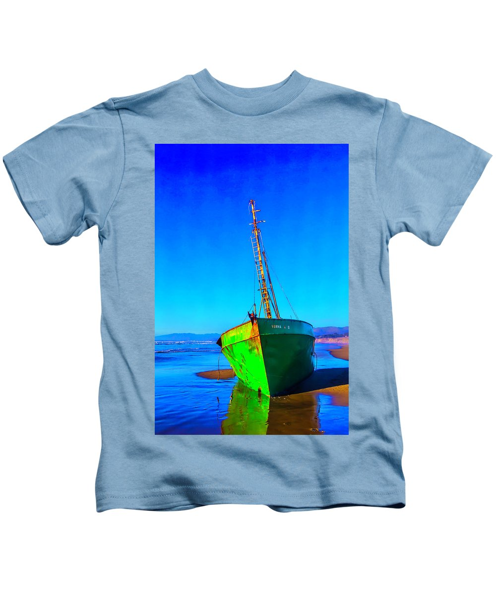 Beach Kids T-Shirt featuring the photograph Forgotten Green Boat by Garry Gay
