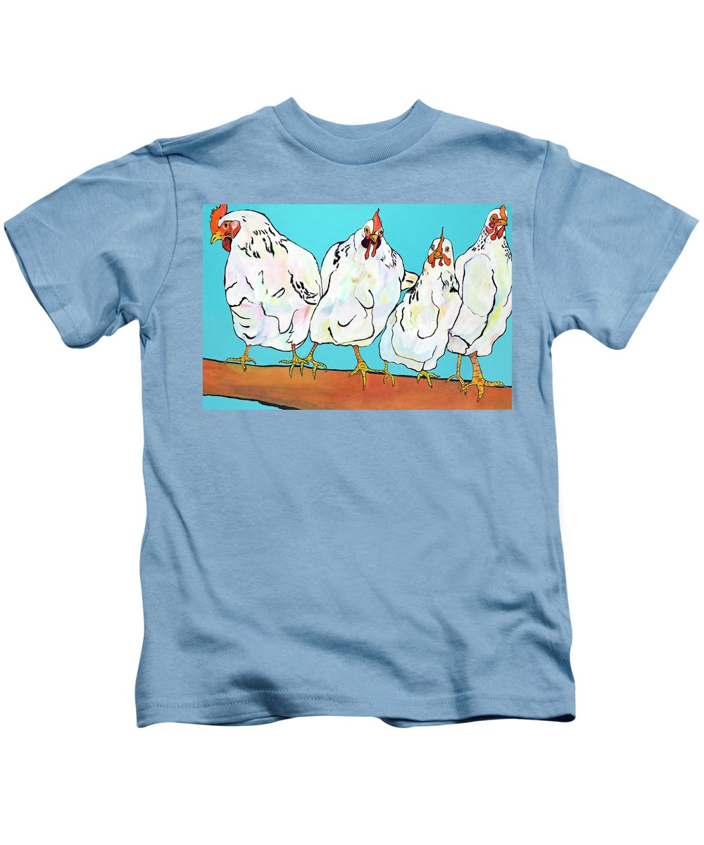 Chickens Kids T-Shirt featuring the painting Four Clucks II by Pat Saunders-White