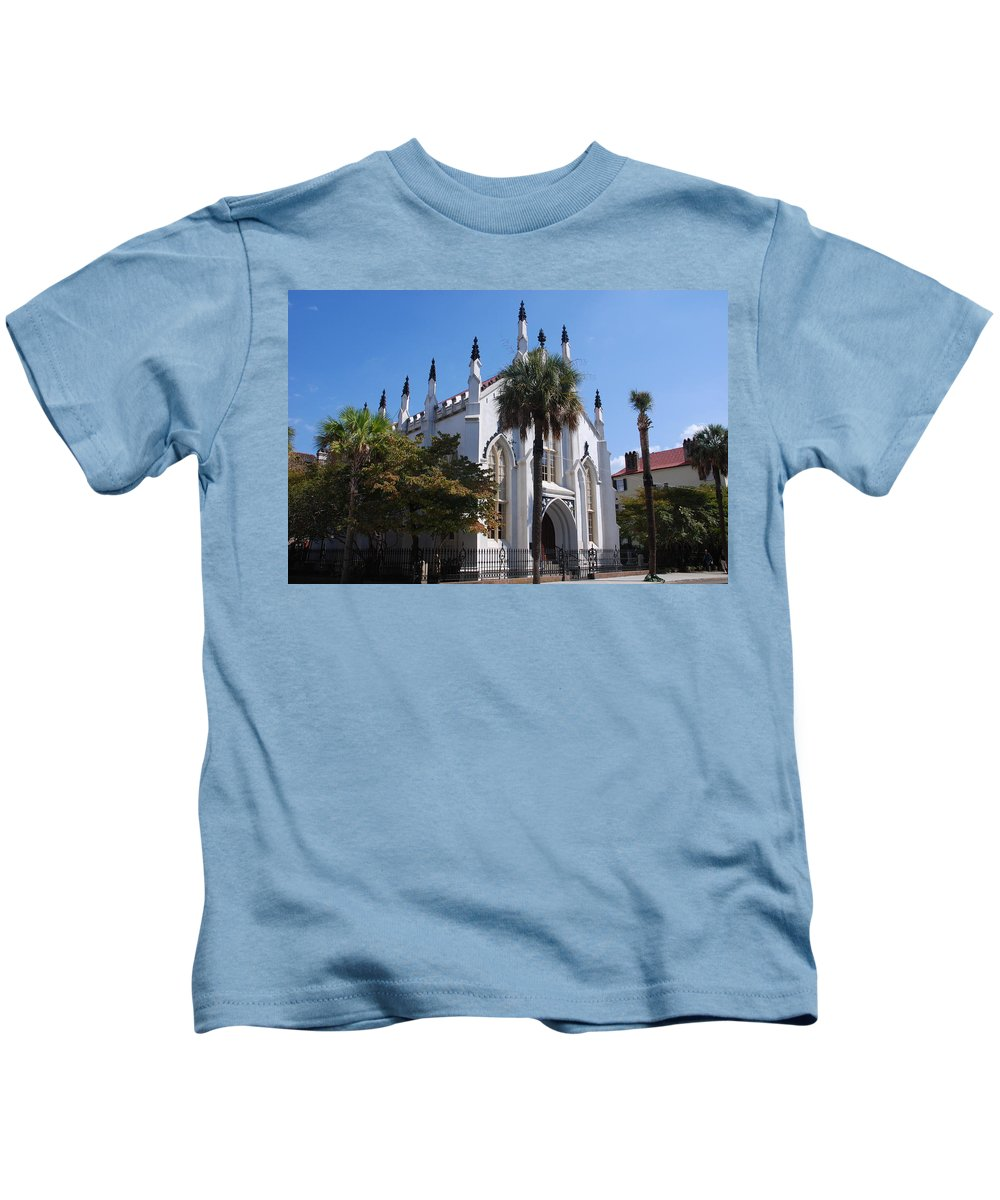Photography Kids T-Shirt featuring the photograph French Huguenot Church In Charleston by Susanne Van Hulst