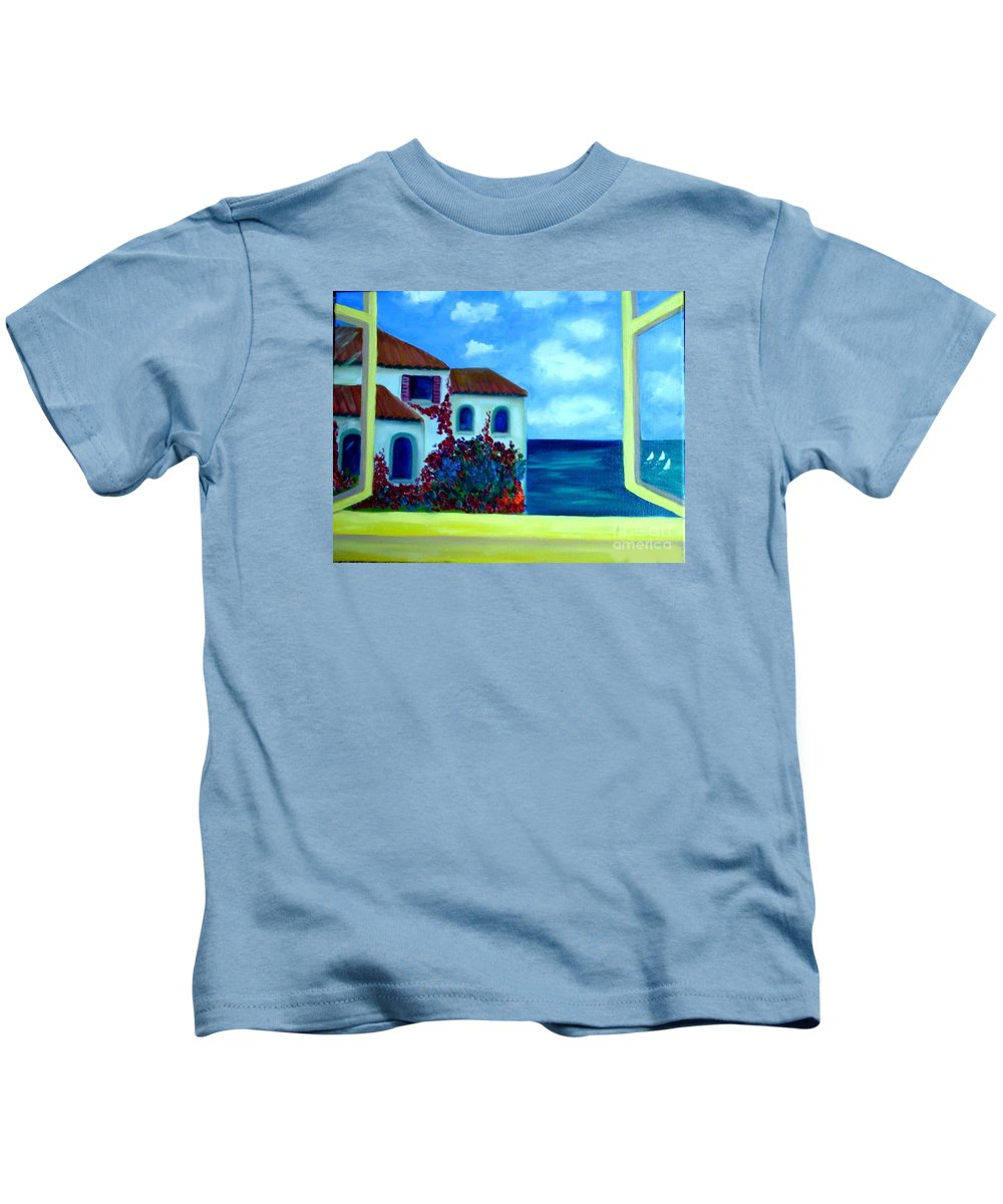 Seascape Kids T-Shirt featuring the painting Fresh Sea Air by Laurie Morgan