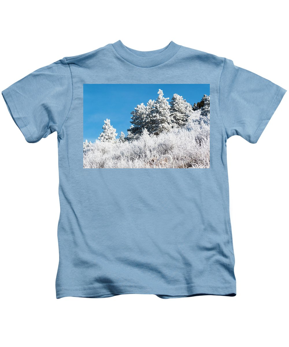 Pikes Peak Kids T-Shirt featuring the photograph Frosty Mountainside by Steve Krull