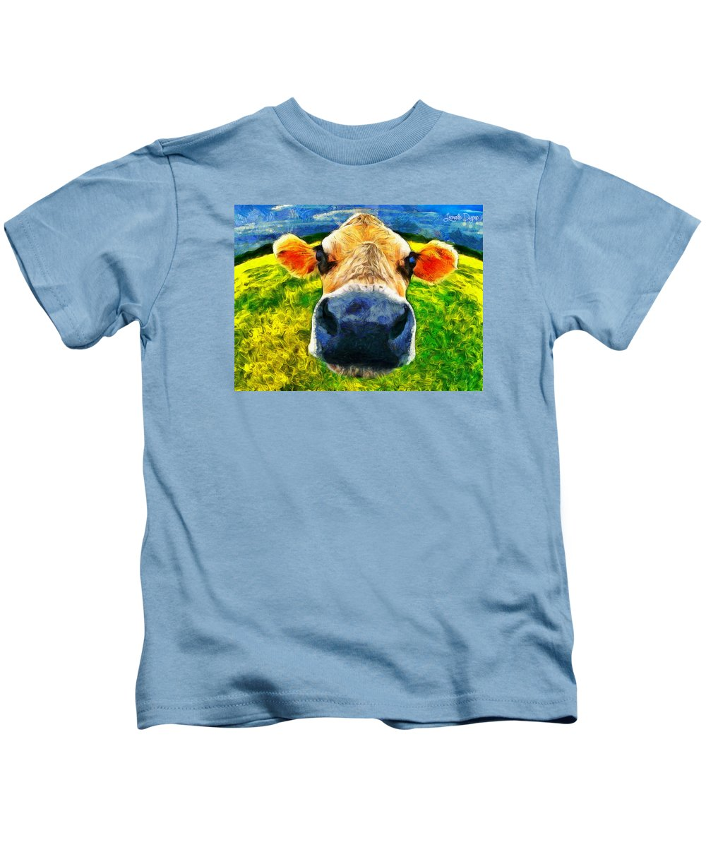 Domesticated Kids T-Shirt featuring the painting Funnycow by Leonardo Digenio