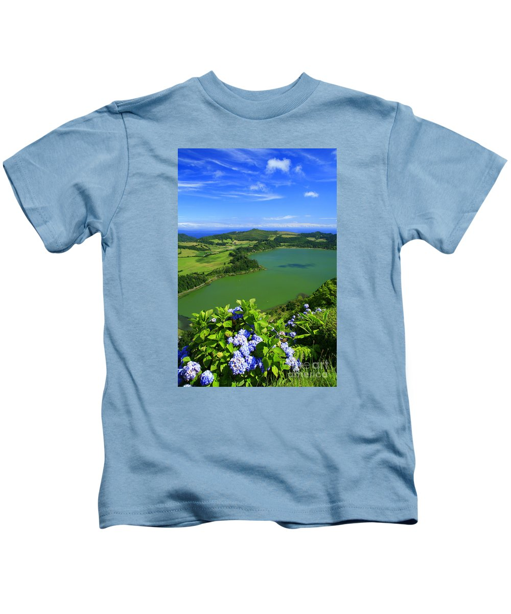 Azores Kids T-Shirt featuring the photograph Furnas Lake by Gaspar Avila