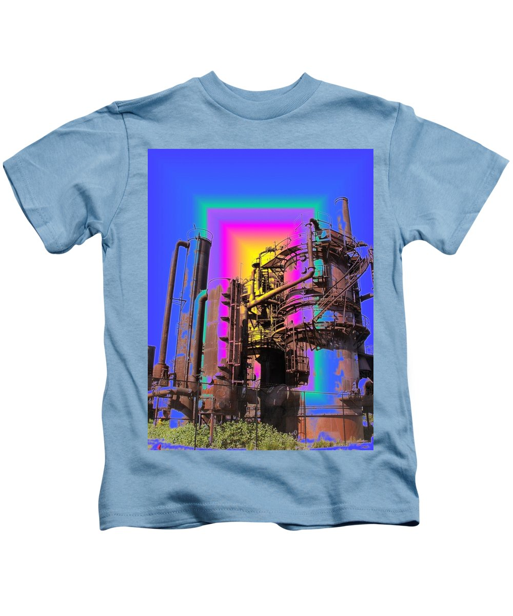 Seatttle Kids T-Shirt featuring the digital art Gasworks Park 2 by Tim Allen