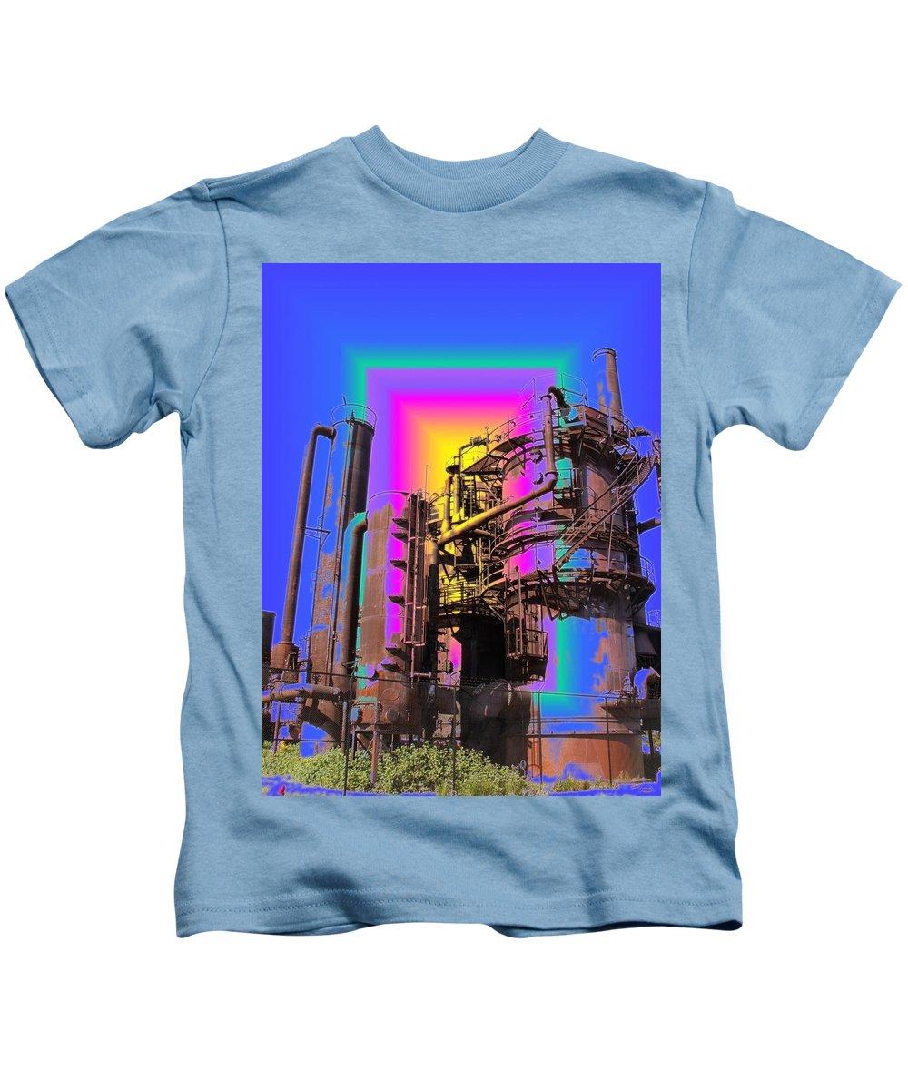 Seatttle Kids T-Shirt featuring the digital art Gasworks Park 2 by Tim Allen