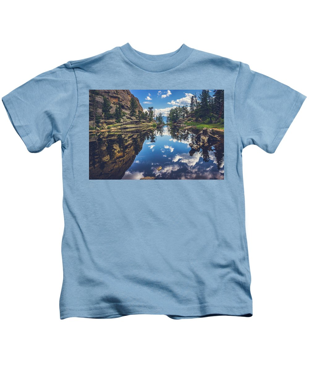 Beauty In Nature Kids T-Shirt featuring the photograph Gem Lake Reflections by Andy Konieczny