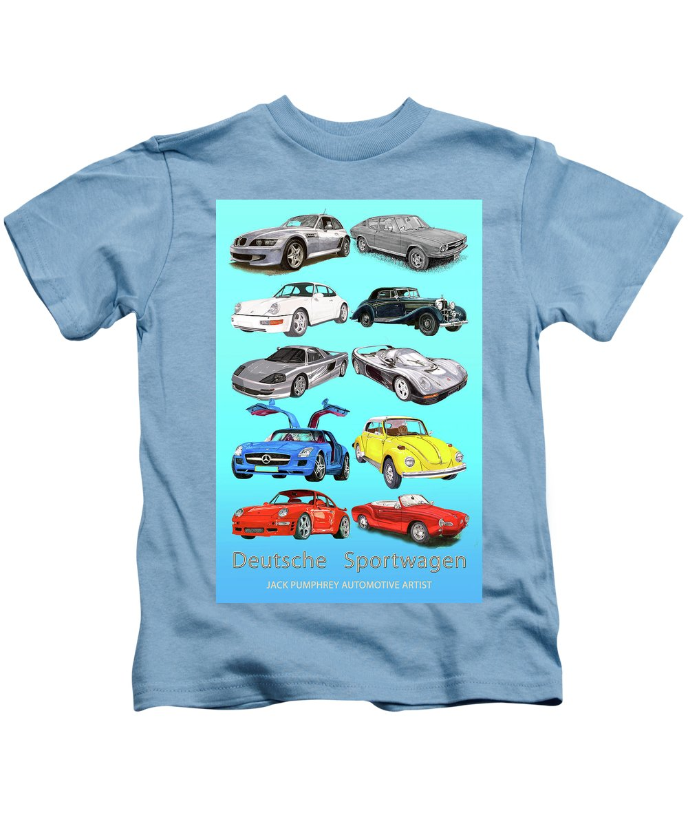 Watercolor Renderings Of German Sports Cars Kids T-Shirt featuring the painting German Sports Cars by Jack Pumphrey