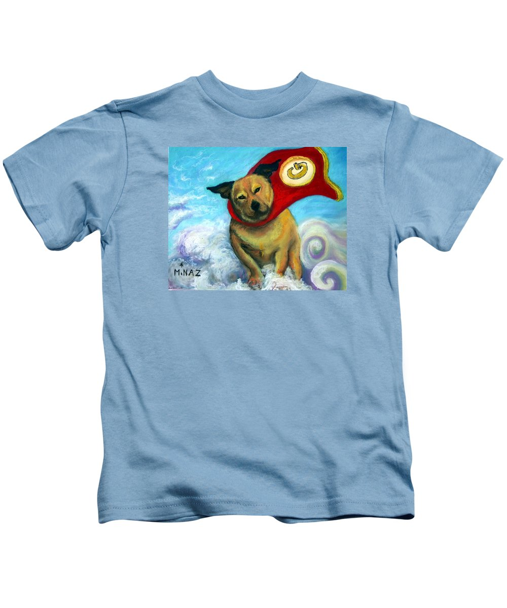 Dog Kids T-Shirt featuring the painting Gizmo The Great by Minaz Jantz