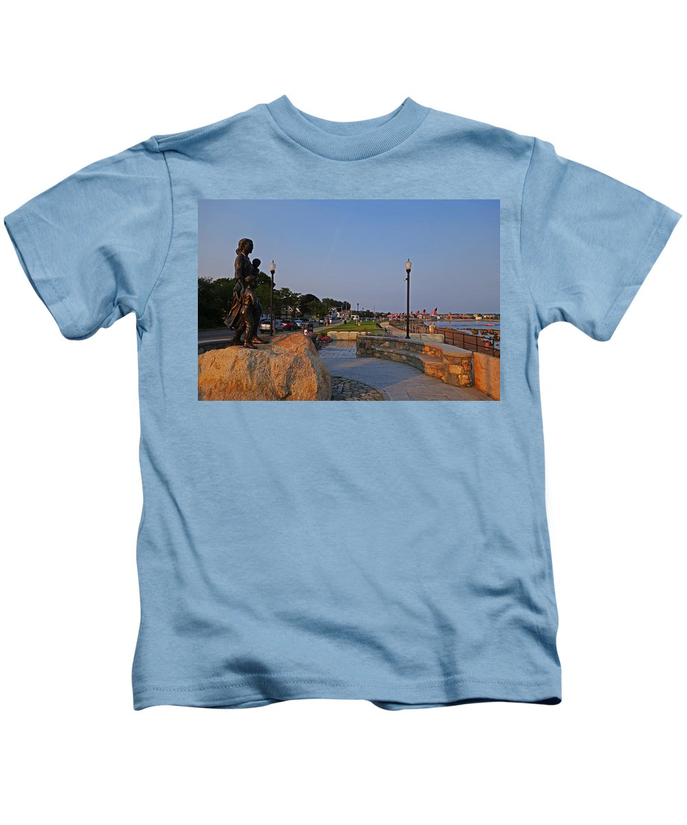 Gloucester Kids T-Shirt featuring the photograph Gloucester Waterfront Gloucester Harbor by Toby McGuire