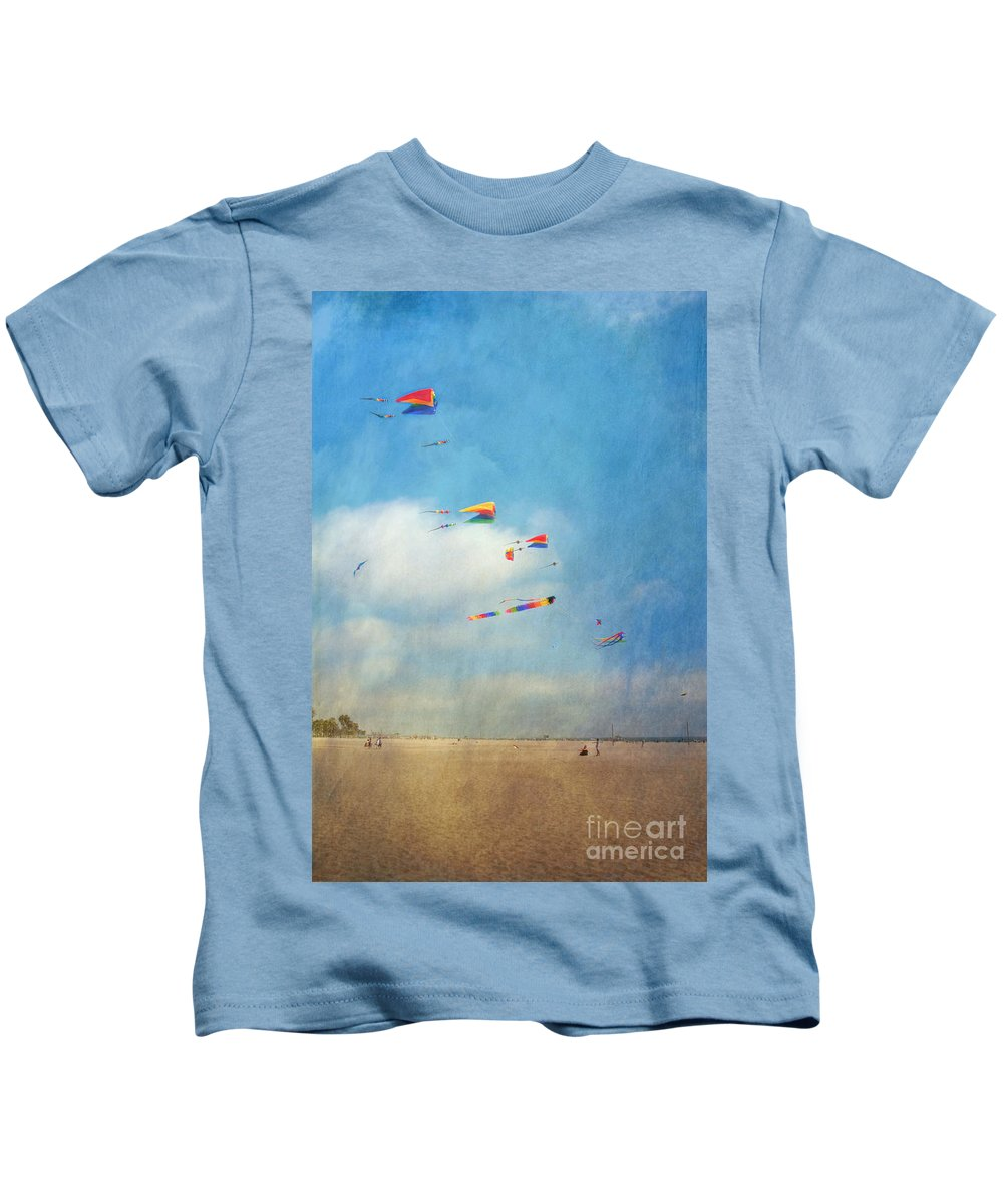 Go Fly A Kite Sand Windy Day Beach Kids T-Shirt featuring the photograph Go Fly A Kite by David Zanzinger